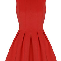Solid Color Sleeveless Pleated Dress