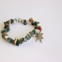 Mixed Stone Marijuana Cannabis Weed Leaf Beaded Charm Bracelet