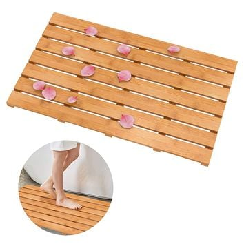 Domax Wooden Bamboo Bath Shower Mat - Non Slip Waterproof Large Bathroom Floor Mat for Indoor and Outdoor Natural, 31.3 x 18.1 x 1.5 Inches