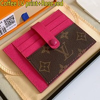 LV Louis Vuitton new letter print stitching color men's and women's card sleeve wallet