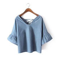 Summer Women Denim Like Top [7278922439]