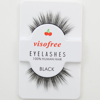 Visofree False Eyelashes Upper Lashes Natural Soft Human Hair Eye Lashes Make Up Natural Lashes #50-JM
