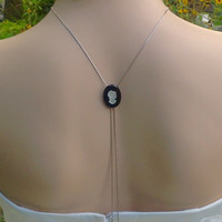 Backdrop Necklace/Long Cameo Necklace/Something Old-Bridal Necklace/Adjustable