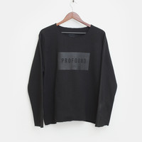 Profound Box Raw-Cut Crewneck Sweatshirt in Black