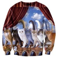 A Row of Kitty Cats Graphic Print Unisex Oversized Pullover Sweater | Gifts for Cat Lovers
