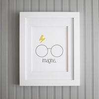 Minimal Art Print - Minimal Wall Poster - Inspirational Print - Harry Potter - Motivational Art // Imagine - One Word // Home Decor - 8 x 10