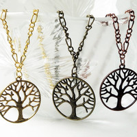 Tree Of Life Necklace Gold  Brass Copper Round With Matching Chain Plated Necklace