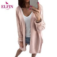 Women Sweater Long Knit Cardigan Open Stitch Top Long Sleeve Casual Knitted Cardigan Female Sweater WS1968R