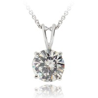 CZ Round Solitaire Necklace, 9mm in Brass