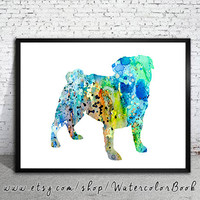 Pug 7 Watercolor Print, Children's Wall, Art Home Decor, dog watercolor, watercolor painting, pug art, animal watercolor, pug poster,pug art