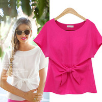 Bow Tie Front Short-Sleeve Blouse