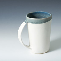 Large Mug/ Stoneware Cup in White Matte and Blue Grey Handmade Ceramic Pottery Cup / Simple, Modern - Handmade Mug - ready to ship