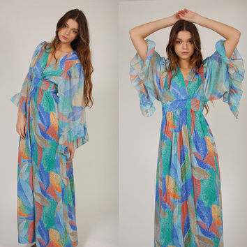 Vintage 70s Maxi Dress ULTIMATE Boho Goddess Bell Sleeve LEAF Print S/M