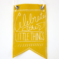 Mini-Banner wall hanging, mustard yellow wool blend felt, screen print in white ink