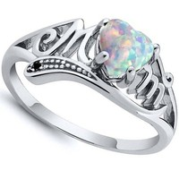 Fashion Love Mum 925 Sterling Silver Fire Opal Ring MOM Character Diamond Ring Jewelry Family Birthday Best Gift for Mother Mumm
