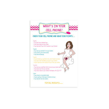 "Printable Bridal Shower Game ""What's in your Cell Phone?"""