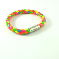 Multicolored Neon latex bracelet with magnetic clasps