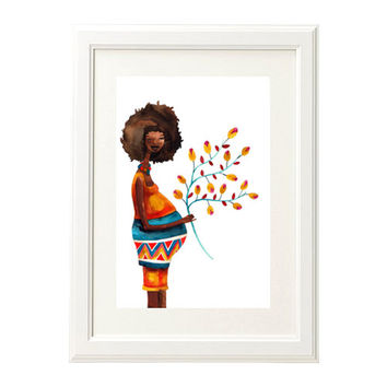 Pregnancy Maternity Baby Afro Mother Woman Print Illustration Watercolor