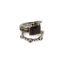 FOREVER 21 Faux Stone Ring Set Burn.S/Black