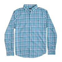 Custom Loblolly Plaid Performance Flannel Slim Tucker Shirt in Aqua Ocean by Vineyard Vines