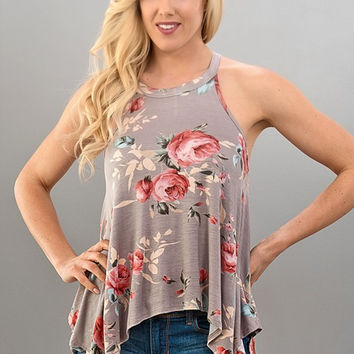 High Neck Floral Grey Flowy Tank Top