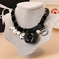 Rose Number 5 Bow Statement Necklace Charms CC Channel Choker Necklace Luxury Brand Women Designer Jewelry Joyeria Collar Perlas