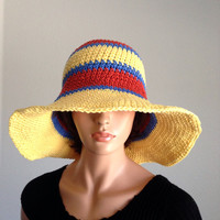 Large Brimmed Cotton Summer Hat. Crochet Beach Hat, Summer Fashion Hat. Derby Hat. Cruise Hat