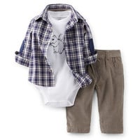 3-Piece Plaid Shirt & Corduroy Pant Set
