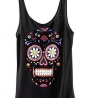 Vest with Skull and Floral Pattern