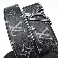 Inseva Louis Vuitton LV fashion printed gold and silver buckle belt hot seller for men and women's casual belts Black Belt+Silvery buckle