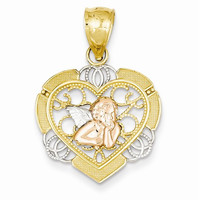 14k Gold Two-tone w/Rhodium Angel in Heart Pendant