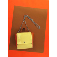 Handbag in vanilla color with leather caramel strap and transparent orange sides, simple minimalism bag, PVC purse fragranced with vanilla