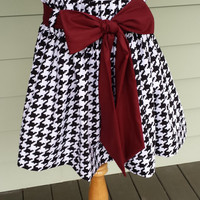 """Women's boutique gameday skirt """"The Derby Skirt"""" in black & white large houndstooth with a garnet sash, custom made by Collyn Raye"""