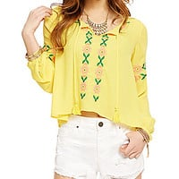 GB Embroidered Tie-Front Blouse - Yellow