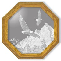 """""""Soaring The Peaks"""" Eagle Etched Glass Art Mirrors"""