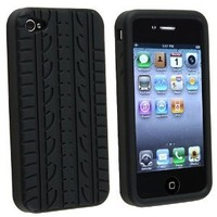 IPHONE 4S / 4 / 4G TYRE TREAD SILICONE SKIN CASE COVER PROTECTOR BLACK