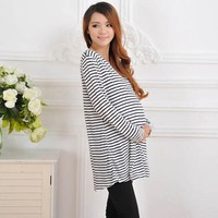 Long Sleeve Casual T-Shirt for Pregnant Women Striped Maternity Tops clothes Soft Autumn Maternity Clothing