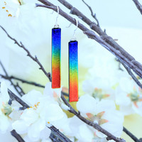 Fused Glass Rainbow Drop Earrings, Fashion Accessories, Dangle Earrings, Dichroic Glass, Sterling Silver Hooks