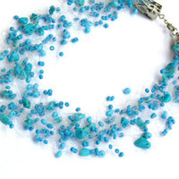 Turquoise Blue Necklace. Multistrand Necklace. Beadwork.
