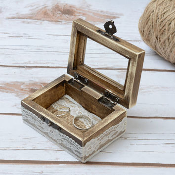 Wedding Ring Glass Box Rustic Ring Bearer with glass Ring Bear Box Wooden Lace Holder Shabby Chic Wedding ceremony