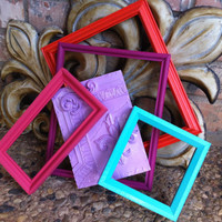 Frame Collage, Bright and Chic Frame Set, Gallery Wall Frames, Upcycled Home Decor, Funky Vintage,