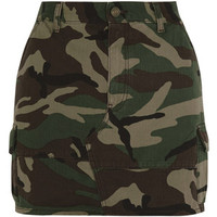 Saint Laurent Camouflage-print denim mini skirt
