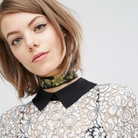 Rock 'N' Rose | Rock N Rose Viola Wide Floral Choker at ASOS