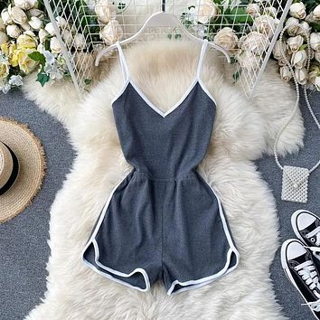 New simple women's color matching suspenders jumpsuit