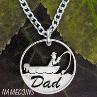 Fishing Necklace, Dad, fathers gift, fisherman handmade jewelry, hand cut coin