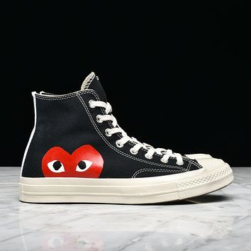 CDG PLAY X CONVERSE CHUCK TAYLOR ALL STAR '70 HI - BLACK
