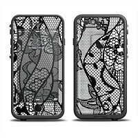 The Black and White Lace Design Apple iPhone 6 LifeProof Fre Case Skin Set