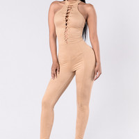 Turn The Tables Jumpsuit - Nude