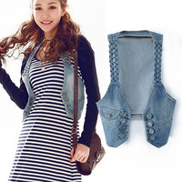 New Fashion Frayed Women's Jean Vest Sleeveless Waistcoat Denim Jacket Outerwear  SV005732 (Size: M, Color: Blue) = 1902131908