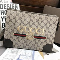 GUCCI New fashion embroidery letter stripe cosmetic bag file package handbag Khaki